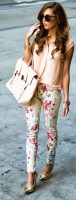 women's spring jeans, floral jeans