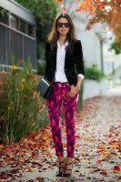 women's spring jeans, floral jeans and blazer