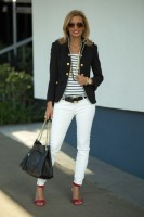 women's spring jeans, white jeans, striped top and navy blazer