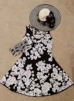 Gold Cup, Preakness, Kentucky Derby Looks, Duchess M black and white floral dress and hat