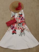 Gold Cup, Preakness, Kentucky Derby Looks, Joseph Ribkoff white floral dress