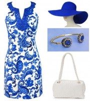 Gold Cup, Preakness, Kentucky Derby Looks, Undeniable Boutique blue and white paisley dress with blue hat
