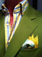 Men's Outfits Kentucky Derby Gold Cup, men's olive green blazer with plaid yellow shirt