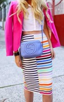 Spring Colors Brighten Looks, print striped skirt and fuchsia blazer
