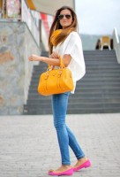 Spring Colors Brighten Looks, jeans, white tee, orange purse, pink flats