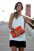 Spring Colors Brighten Looks, white and black dress, orange purse