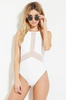 Chic One-Piece Swimsuits, one piece mesh white swimsuit