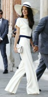 spring accessories, white outfit with hat, Amal Clooney