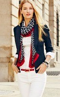 spring accessories, white denim shirt, dark jean blazer and polka dot red scarf 2