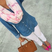 spring accessories, white jeans, denim shirt, pink heels and flamingo scarf 2