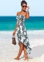 white print high low midi dress with sandals