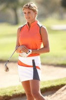 Sporty Chic Spring Sportswear, women's golf outfit peach and gray