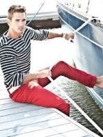 Nauti Nautical Style, men's red casual pants, navy and white striped sweater