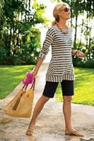 Flattering Shorts Body Type, black bermuda shorts and striped top