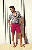 men's floral button down shirt and berry shorts 200