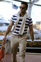 Nauti Nautical Style, men's striped polo with pants and sweater
