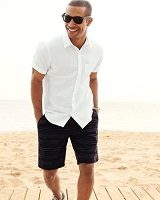 men's striped black and gray shorts 200