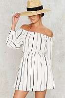 Nauti Nautical Style, off the shoulder black and white striped dress