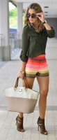 Flattering Shorts Body Type, striped shorts with olive blouse