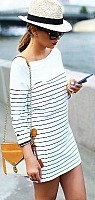 Nauti Nautical Style, white long sleeve striped dress with hat