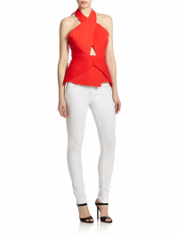 Stylish New Looks Beat Heat, BCBG Remmie open-back cut out peplum top red