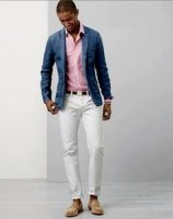 6 must haves men's summer style, men's chambray blazer, pink button down and white pants