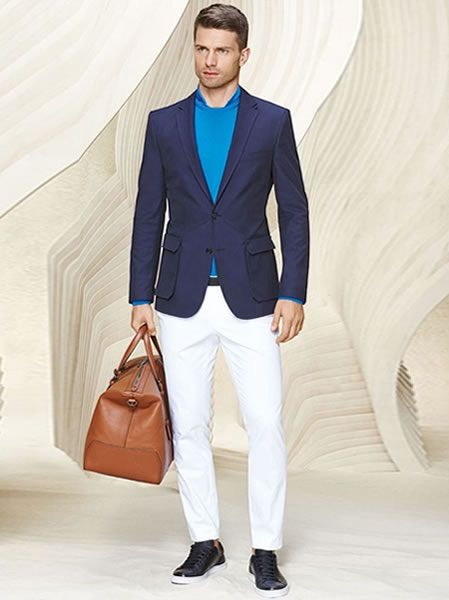 men's travel outfit white pants, navy blazer, blue sweater