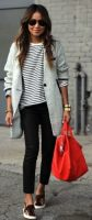 Foolproof tips trendy airport style-striped tshirt, gray marbled cardigan animal print slip on sneakers