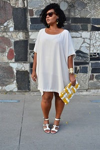 Stylish New Looks Beat Heat, white tshirt dress, white high heel sandals