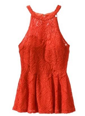 Ambar ebony red lace top