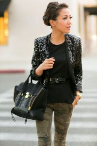 Fall Date Night Outfit, black sequin blazer, camo pants