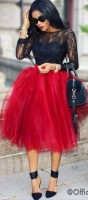 red tulle skirt and black lace top