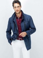 Divine Style men's transition spring outfit, white jeans, blue jacket