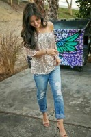 women's spring jeans, distressed denim and sequin top