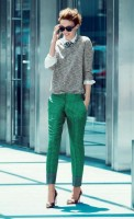 de-winterize your closet for spring. green print annkle pants