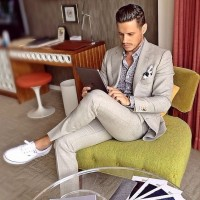 men's suit with fashion sneakers