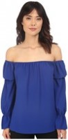 Spring Fashion Under $200 Nicole Miller off the shoulder blue top