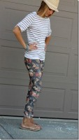 women's spring jeans, gray floral jeans