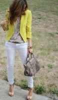 de-winterize your closet for spring. white cuffed jeans, yellow blazer