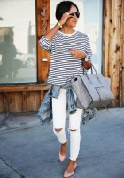 women's spring jeans, white distressed jeans, striped top