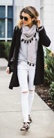 De-winterize your closet for spring. white jeans, long cardigan