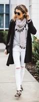 De-winterize your closet for spring. white jeans, long cardigan