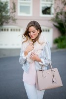de-winterize your closet for spring. white jeans, striped blazer, scarf.
