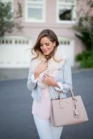 de-winterize your closet for spring. white jeans, striped blazer, scarf.