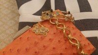 Gold Cup, Preakness, Kentucky Derby Looks, orange clutch, gold spring jewelry