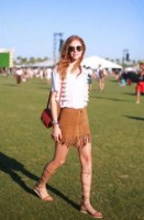 festival style, fringe skirt and vest