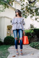 Spring Colors Brighten Looks, off the shoulder gray top, jeans, orange satchel
