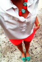 Spring's Stylish Updates, spring outfit jewelry orange shorts