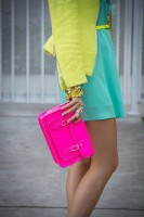 Spring Colors Brighten Looks, spring outfit with bright pink handbag
