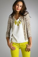 Spring's Stylish Updates, spring outfit yellow jeans, animal print cardigan, yellow necklace